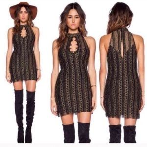 Free People Gold Lace Bodycon Dress Size M
